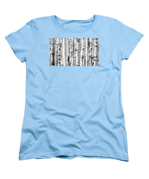 Women's T-Shirt (Standard Cut) featuring the photograph Aspens In Black And White  by Saija Lehtonen