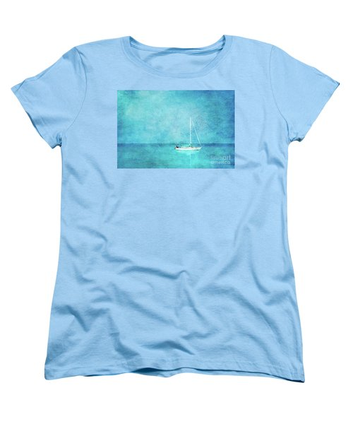 Women's T-Shirt (Standard Cut) featuring the mixed media At Anchor by Betty LaRue