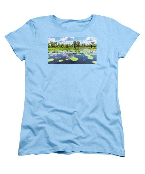 Atchaflaya Basin Reflection Pool Women's T-Shirt (Standard Cut) by Andy Crawford