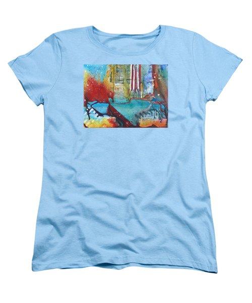 Atlantis Crashing Into The Sea Women's T-Shirt (Standard Cut) by Ruth Kamenev