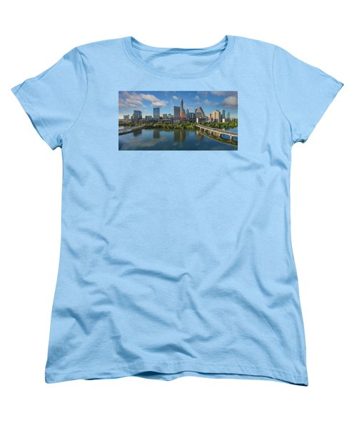 Austin Skyline Panorama Spring Afternoon 7-1 Women's T-Shirt (Standard Cut) by Rob Greebon