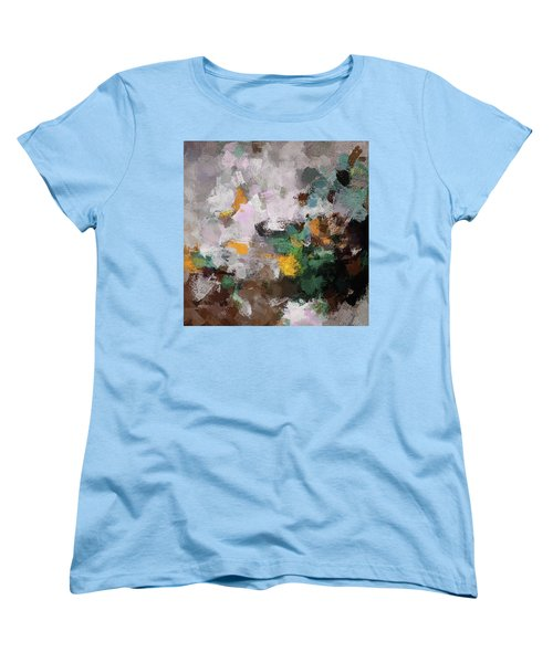Women's T-Shirt (Standard Cut) featuring the painting Autumn Abstract Painting by Ayse Deniz