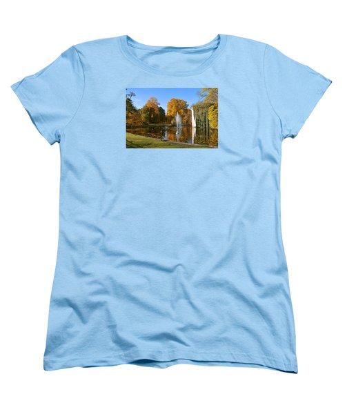 Women's T-Shirt (Standard Cut) featuring the photograph Autumn At The City Park Pond Maastricht by Nop Briex