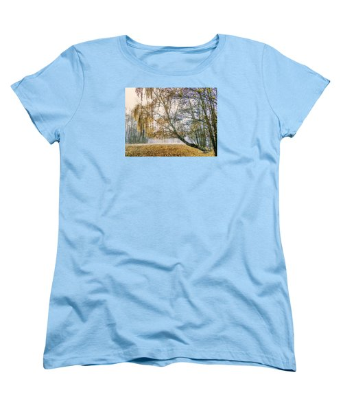 Autumn Colorful Birch Trees Paint Women's T-Shirt (Standard Cut) by Odon Czintos