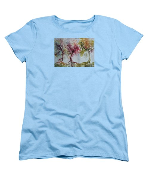 Women's T-Shirt (Standard Cut) featuring the painting Autumn Colors by Elena Oleniuc