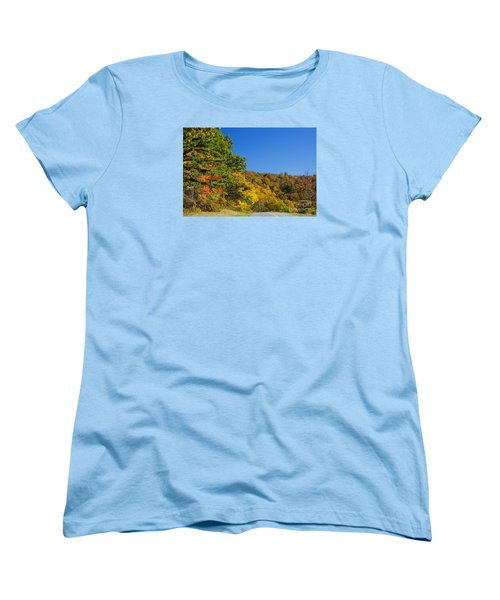 Autumn Country Roads Blue Ridge Parkway Women's T-Shirt (Standard Cut) by Nature Scapes Fine Art