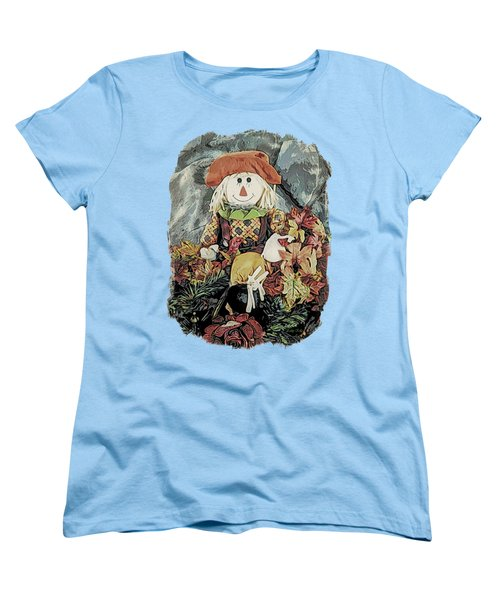 Women's T-Shirt (Standard Cut) featuring the digital art Autumn Country Scarecrow by Kathy Kelly