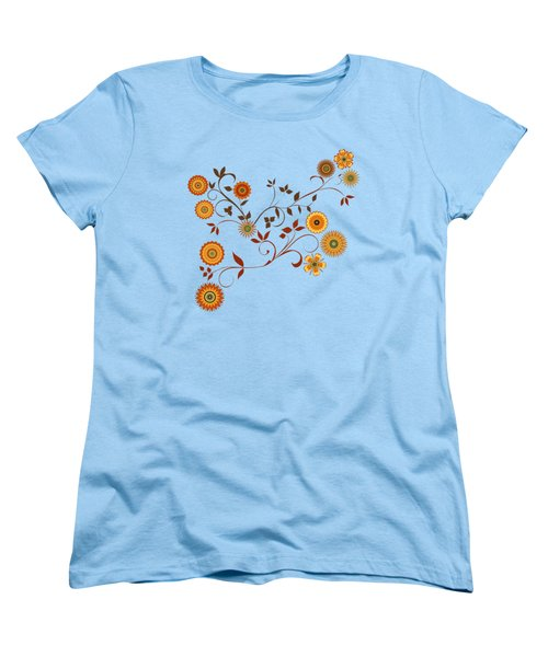 Women's T-Shirt (Standard Cut) featuring the digital art Autumn Flower Explosion by Methune Hively