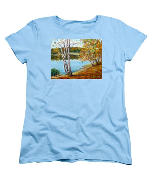 Women's T-Shirt (Standard Cut) featuring the painting Autumn by Nina Mitkova