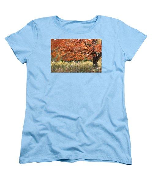 Women's T-Shirt (Standard Cut) featuring the photograph Autumn Red   by Paula Guttilla