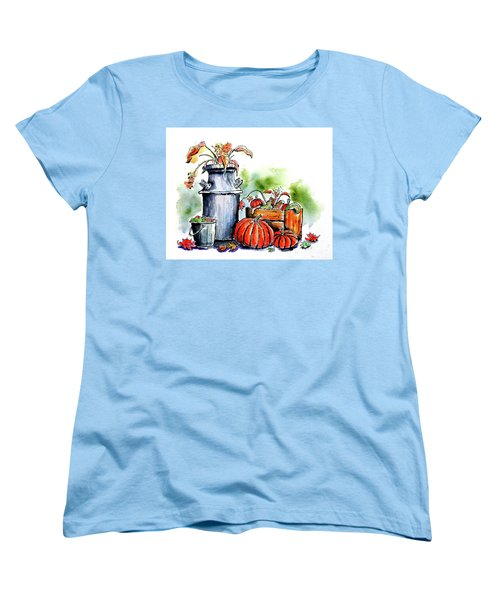 Women's T-Shirt (Standard Cut) featuring the painting Autumn Still Life 1 by Terry Banderas