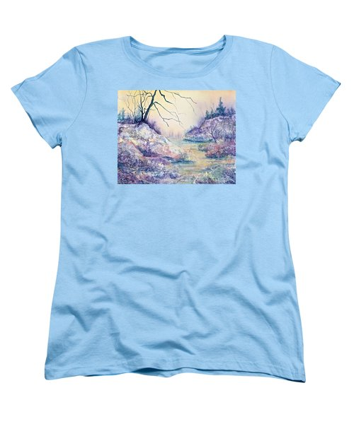 Women's T-Shirt (Standard Cut) featuring the painting Autumnscape In Purple by Carolyn Rosenberger