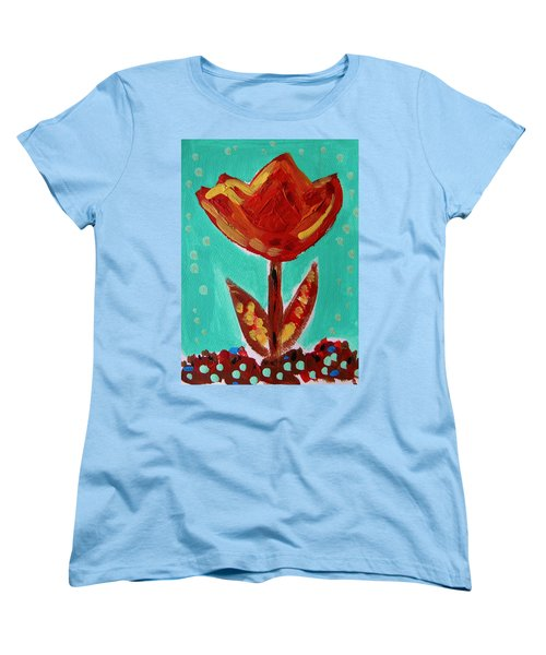Women's T-Shirt (Standard Cut) featuring the painting Avis-flowers From The Flower Patch by Mary Carol Williams