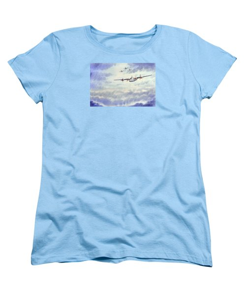 Women's T-Shirt (Standard Cut) featuring the painting B-24 Liberator Aircraft Painting by Bill Holkham