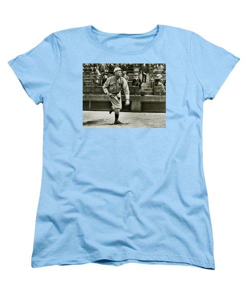 Babe Ruth Pitching Women's T-Shirt (Standard Cut) by Jon Neidert