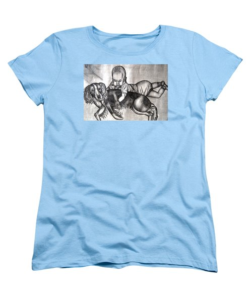 Baby And Dog Women's T-Shirt (Standard Cut) by Angela Murray