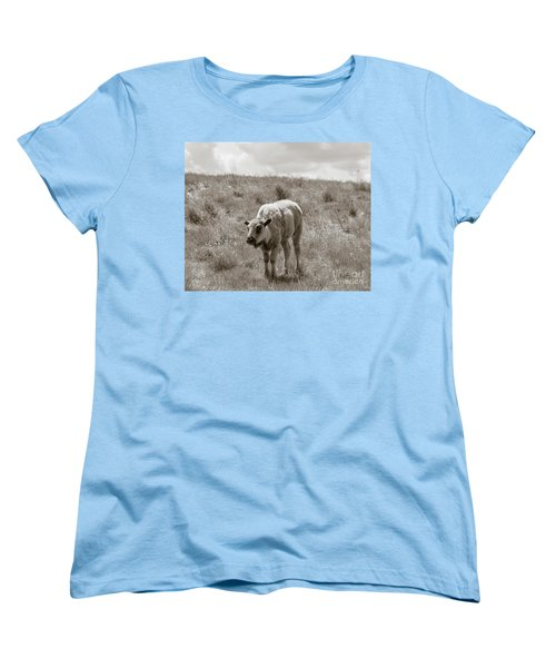Women's T-Shirt (Standard Cut) featuring the photograph Baby Buffalo In Field With Sky by Rebecca Margraf