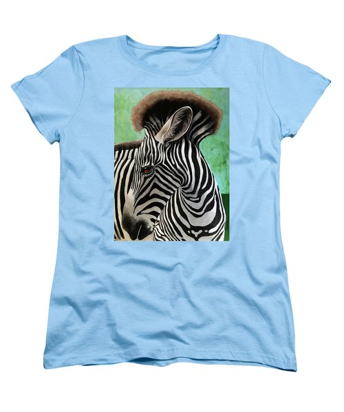 Women's T-Shirt (Standard Cut) featuring the painting Baby Zebra by Linda Apple
