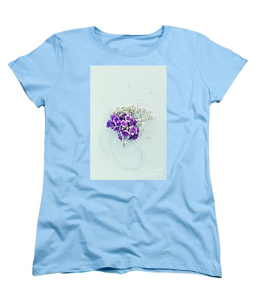 Baby's Breath And Violets Bouquet Women's T-Shirt (Standard Cut)