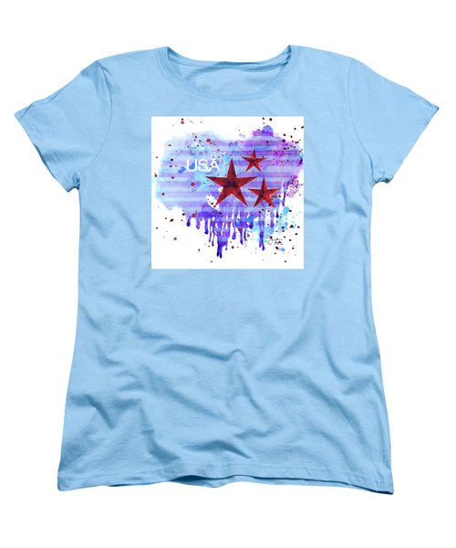 Women's T-Shirt (Standard Cut) featuring the painting Back In The Usa by Colleen Taylor