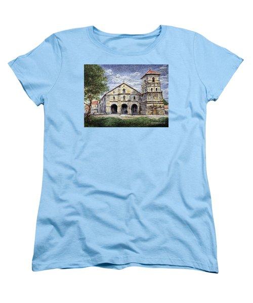 Women's T-Shirt (Standard Cut) featuring the painting Baclayon Church by Joey Agbayani