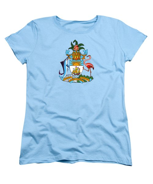Women's T-Shirt (Standard Cut) featuring the drawing Bahamas Coat Of Arms by Movie Poster Prints
