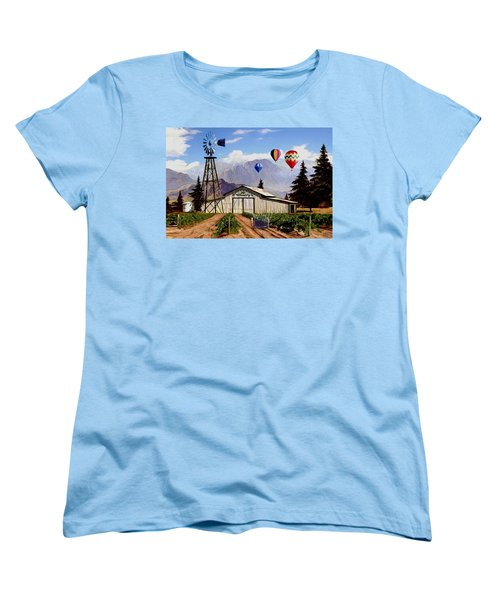 Balloons Over The Winery 1 Women's T-Shirt (Standard Cut) by Ron Chambers