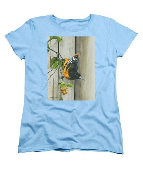 Women's T-Shirt (Standard Cut) featuring the painting Baltimore Oriole by Mike Brown