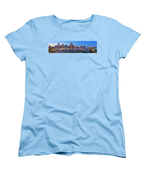 Baltimore Skyline Inner Harbor Panorama At Dusk Women's T-Shirt (Standard Cut) by Jon Holiday