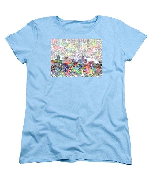 Women's T-Shirt (Standard Cut) featuring the painting Baltimore Skyline Watercolor 11 by Bekim Art