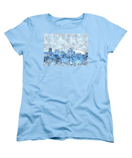 Women's T-Shirt (Standard Cut) featuring the painting Baltimore Skyline Watercolor 9 by Bekim Art