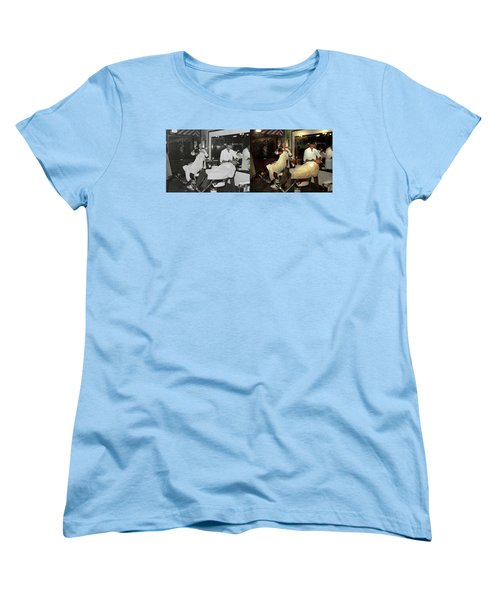 Women's T-Shirt (Standard Cut) featuring the photograph Barber - A Time Honored Tradition 1941 - Side By Side by Mike Savad