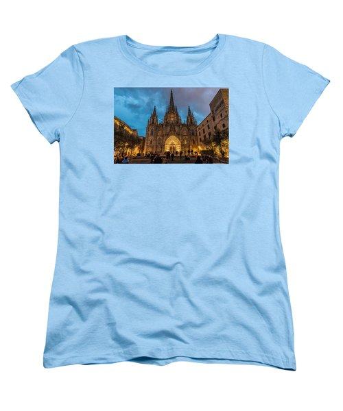 Barcelona Cathedral At Dusk Women's T-Shirt (Standard Cut) by Randy Scherkenbach