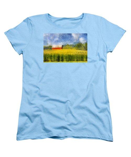 Barn And Cornfield Women's T-Shirt (Standard Cut) by Francesa Miller
