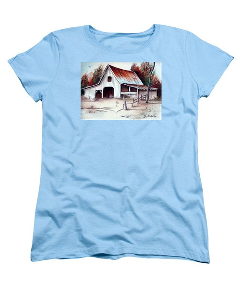 Women's T-Shirt (Standard Cut) featuring the painting Barn by Denise Fulmer