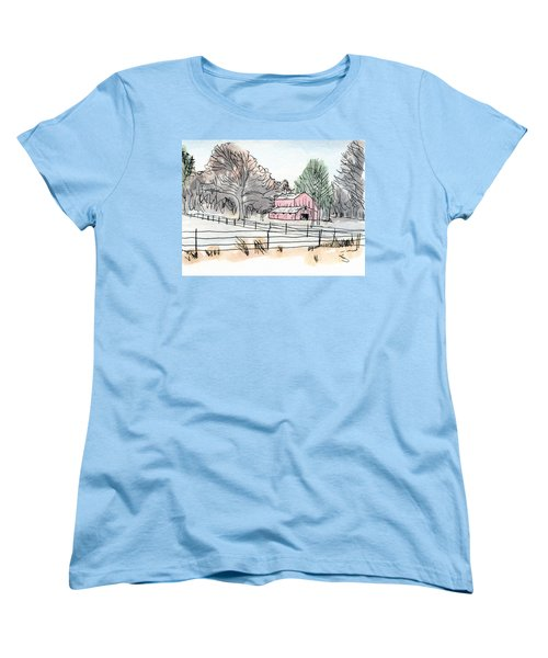 Barn In Winter Woods Women's T-Shirt (Standard Cut) by R Kyllo