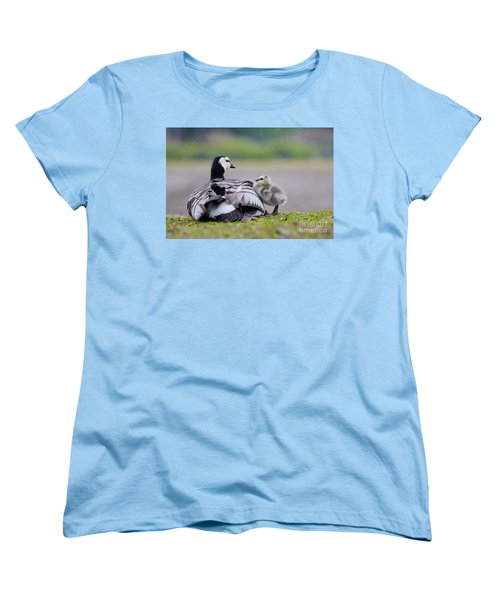 Barnacle Goose With Chick In The Rain Women's T-Shirt (Standard Cut) by Nick  Biemans