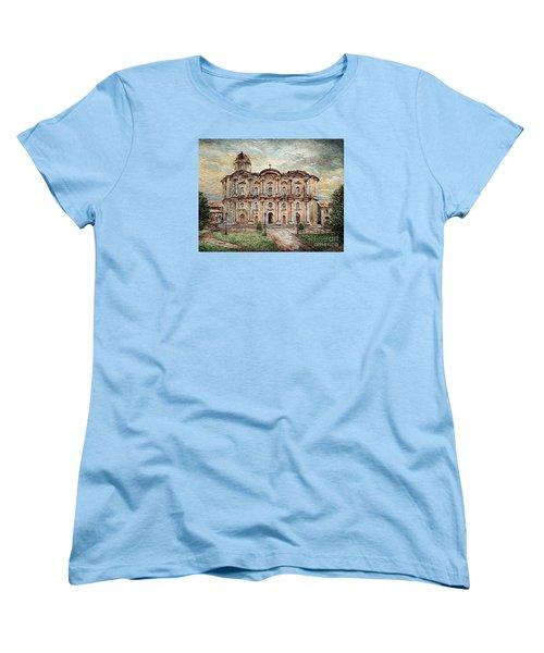 Women's T-Shirt (Standard Cut) featuring the painting Basilica De San Martin De Tours by Joey Agbayani