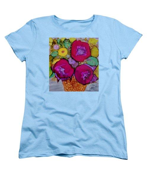 Basket Of Blooms Women's T-Shirt (Standard Cut) by Joanne Smoley