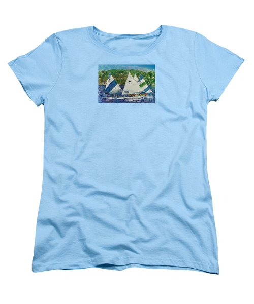 Women's T-Shirt (Standard Cut) featuring the painting Bass Lake Races  by LeAnne Sowa
