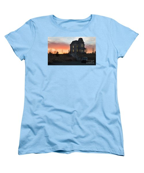 Bates Motel At Night Women's T-Shirt (Standard Cut) by Jim  Hatch