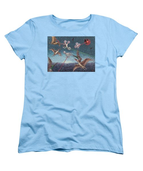 Battle Of Pterosaurs And Drones Women's T-Shirt (Standard Cut) by Holly Wood