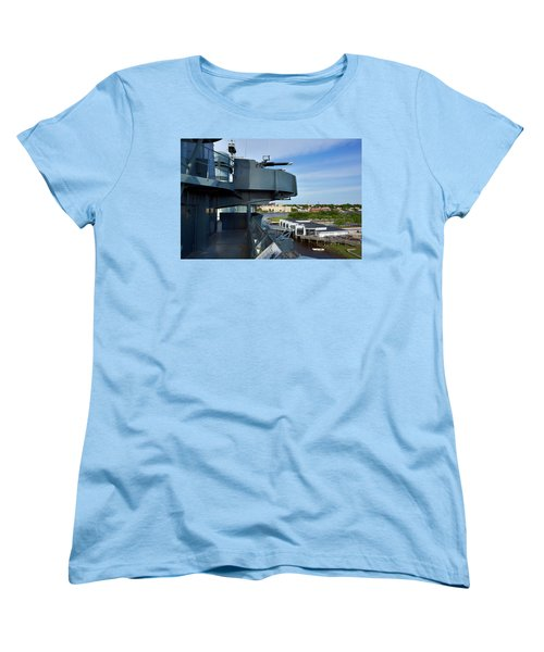 Battleship View Of Wilmington Nc Women's T-Shirt (Standard Cut) by Denis Lemay