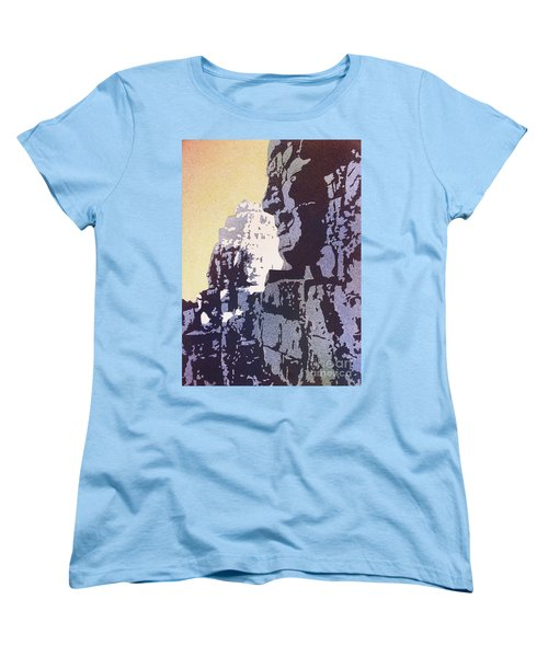 Women's T-Shirt (Standard Cut) featuring the painting Bayon Temple- Angkor Wat, Cambodia by Ryan Fox