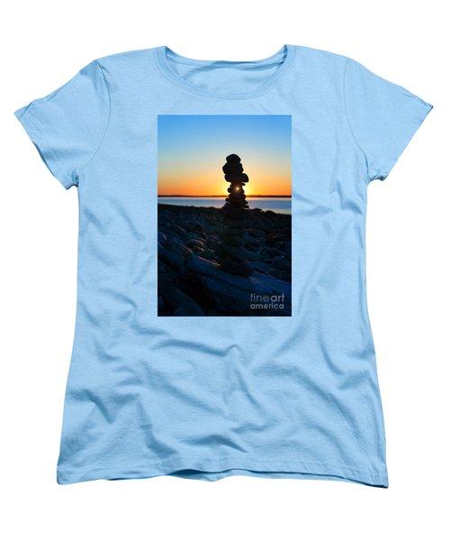 Beach Cairn At Sunrise Women's T-Shirt (Standard Cut) by Diane Diederich