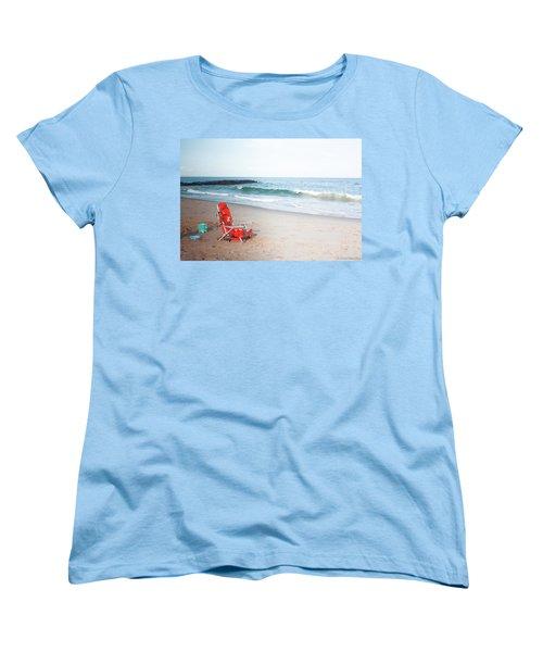 Women's T-Shirt (Standard Cut) featuring the photograph Beach Chair By The Sea by Ann Murphy