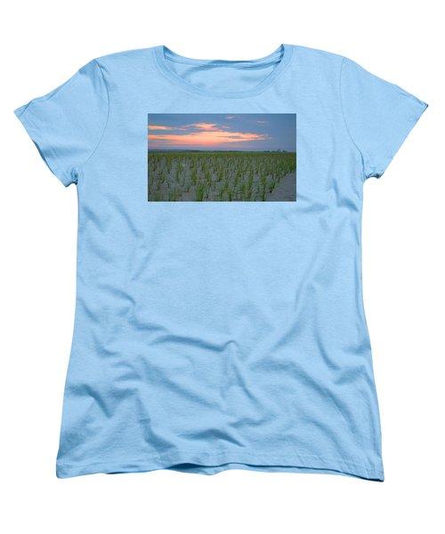 Women's T-Shirt (Standard Cut) featuring the photograph Beach Grass Farm by  Newwwman