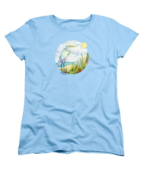Beach Heron Women's T-Shirt (Standard Cut) by Amy Kirkpatrick