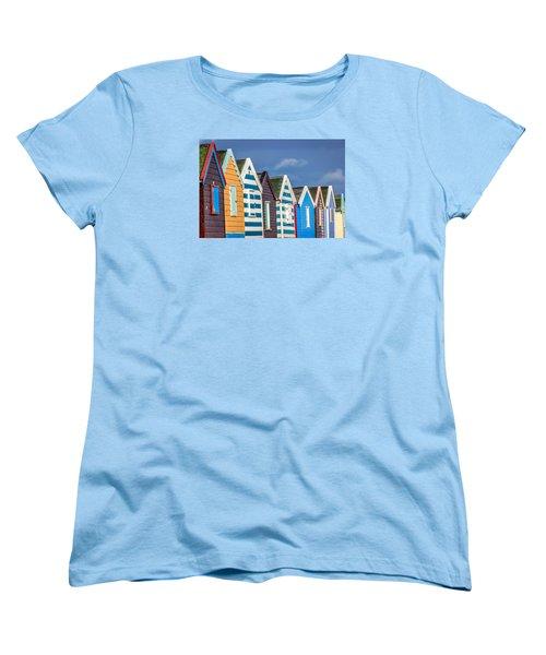 Beach Huts Women's T-Shirt (Standard Cut) by David Warrington