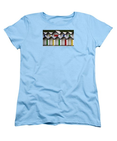 Women's T-Shirt (Standard Cut) featuring the photograph Beach Huts by Shirley Mitchell